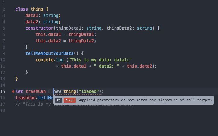 Atom-Typescript Class error