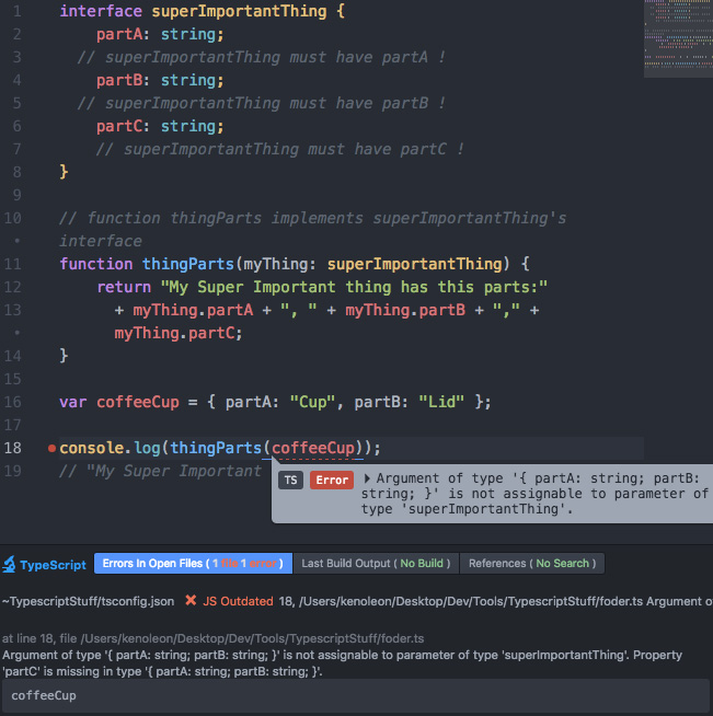 Atom-TypeScript interface error